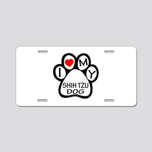 I Love My Shih Tzu Dog Aluminum License Plate