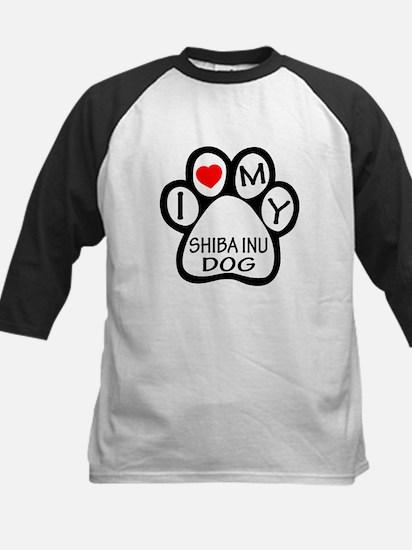 I Love My Shiba Inu Dog Kids Baseball Jersey
