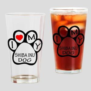 I Love My Shiba Inu Dog Drinking Glass