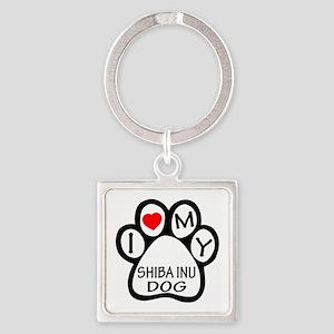I Love My Shiba Inu Dog Square Keychain
