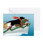Black & Chocolate Labs Boat Greeting Cards