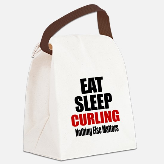 Eat Sleep Curling Canvas Lunch Bag