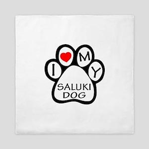 I Love My Saluki Dog Queen Duvet