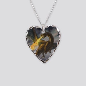Dragon Spiting Fire Necklace Heart Charm