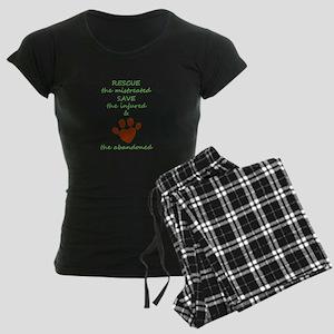 RESCUE the mistreated SAVE t Women's Dark Pajamas