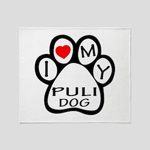 I Love My Puli Dog Throw Blanket