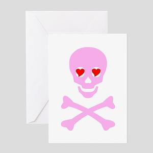 Pink Skull & Crossbones Greeting Card