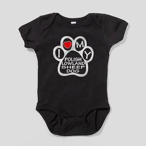 I Love My Polish Lowland Sheepdog Baby Bodysuit