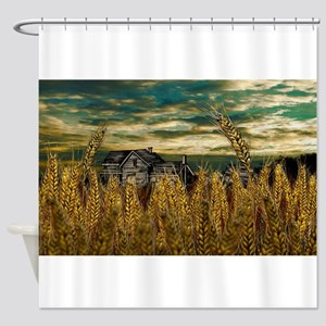 Farm House in Wheat Field Shower Curtain