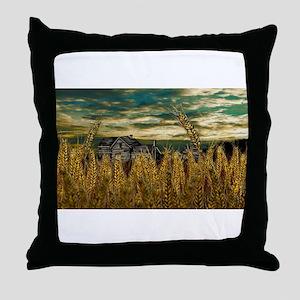 Farm House in Wheat Field Throw Pillow