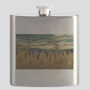 Farm House in Wheat Field Flask