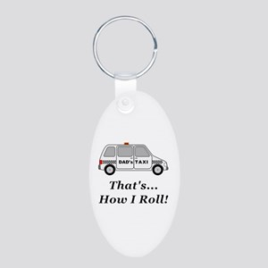 Dads Taxi How I Roll Aluminum Oval Keychain