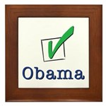 Obama Check Light Framed Tile