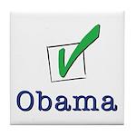 Obama Check Light Tile Coaster