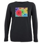 Colorful Flowers Plus Size Long Sleeve Tee