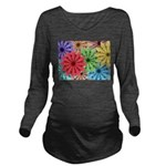 Colorful Flowers Long Sleeve Maternity T-Shirt