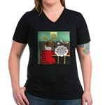 A Wiener Dog Christmas Women's V-Neck Dark T-Shirt