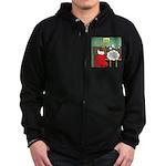 A Wiener Dog Christmas Zip Hoodie (dark)