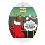 A Wiener Dog Christmas Oval Ornament