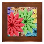 Colorful Flowers Framed Tile