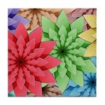 Colorful Flowers Tile Coaster