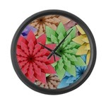 Colorful Flowers Large Wall Clock