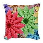 Colorful Flowers Woven Throw Pillow