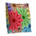 Colorful Flowers Burlap Throw Pillow
