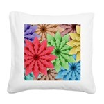 Colorful Flowers Square Canvas Pillow
