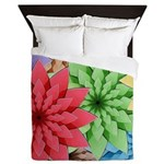 Colorful Flowers Queen Duvet