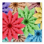 Colorful Flowers Square Car Magnet 3