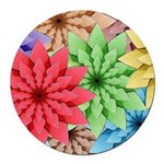 Colorful Flowers Round Car Magnet