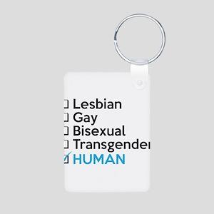 I'm Human - Gay Pride Aluminum Photo Keychain