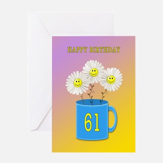 61st birthday, smiling daisy flowers Greeting Card