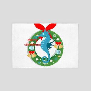 merry christmas seahorse 4' x 6' Rug