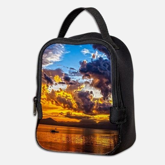 Beautiful Sunset Landscape Neoprene Lunch Bag