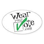 Wear Your Vote Light Oval Sticker