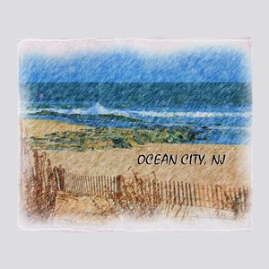 Ocean City NJ Beach Throw Blanket