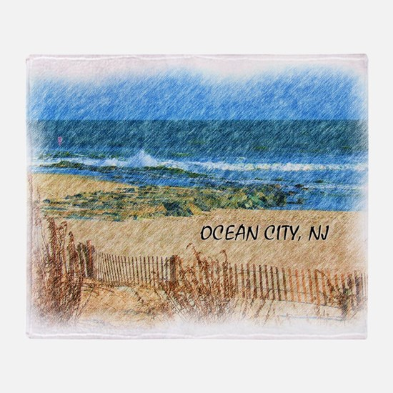 Ocean City NJ Beach Throw Blanket