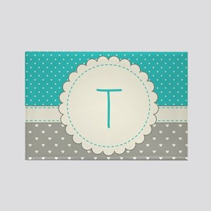 Cute Monogram Letter T Magnets