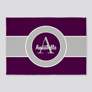 Purple Gray Monogram Personalized 5'x7'are
