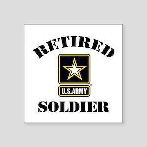 "Retired U.S. Army Soldier Square Sticker 3"" x 3"""