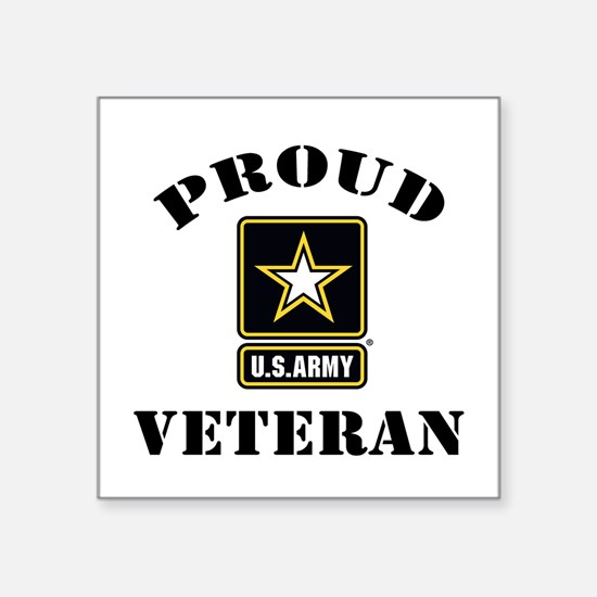 "Proud U.S. Veteran Square Sticker 3"" x 3"""