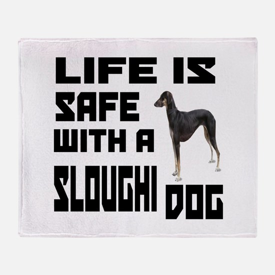 Life Is Safe With A Sloughi Dog Desi Throw Blanket
