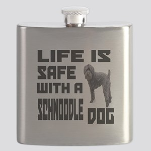 Life Is Safe With A Schnoodle Dog Designs Flask