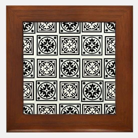 Plain BW Stitch Framed Tile
