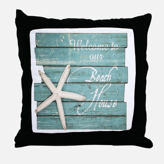 Cute Beach house Throw Pillow