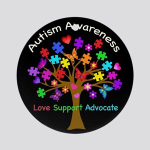 Autism Awareness Tree Round Ornament