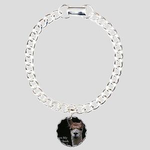 Alpaca with funny hairst Charm Bracelet, One Charm
