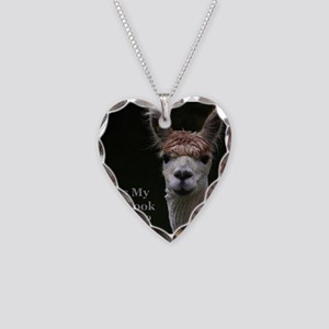 Alpaca with funny hairstyle Necklace Heart Charm